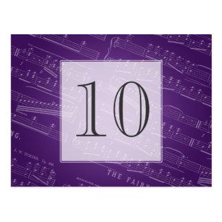 Púrpura elegante de la partitura del número de la postal