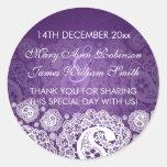 Púrpura elegante del cordón de Paisley de la Etiquetas Redondas