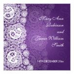 Púrpura elegante del cordón de Paisley que se casa Comunicados Personalizados