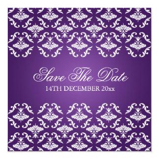 """Púrpura elegante del damasco del vintage del boda invitación 5.25"""" x 5.25"""""""