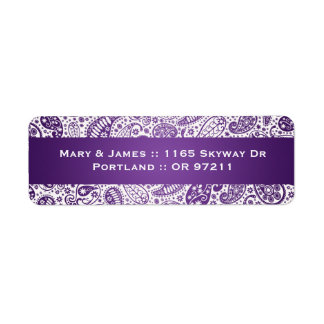 Púrpura elegante del modelo de Paisley de la direc Etiquetas De Remite