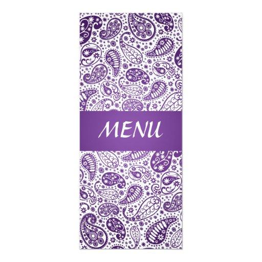"""Púrpura elegante del modelo de Paisley del menú Invitación 4"""" X 9.25"""""""