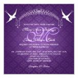Púrpura elegante del monograma de los pájaros del invitacion personal