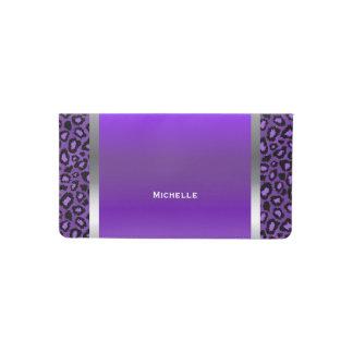 Púrpura elegante, plata y estampado de animales de funda para chequera