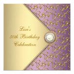 Púrpura elegante y fiesta del cumpleaños de la invitaciones personalizada