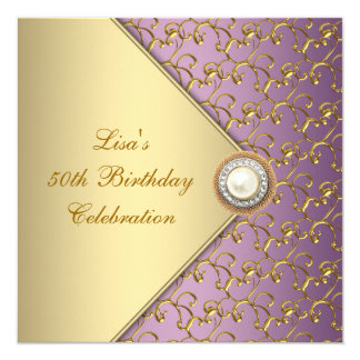 """Púrpura elegante y fiesta del cumpleaños de la invitación 5.25"""" x 5.25"""""""