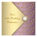 Púrpura elegante y fiesta del cumpleaños de la muj invitaciones personalizada