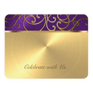 "Púrpura elegante y oro de la tarjeta de RSVP Invitación 4.25"" X 5.5"""