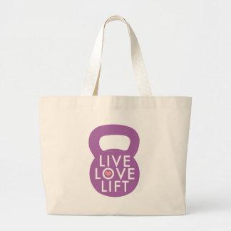 """Púrpura """"elevación viva del amor """" bolsas de mano"""