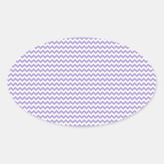 Púrpura en colores pastel blanca y ligera del zigz calcomanía de oval personalizadas