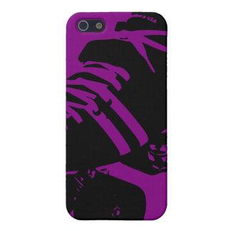 Púrpura en la caja negra del iPhone del patín de D iPhone 5 Cárcasas