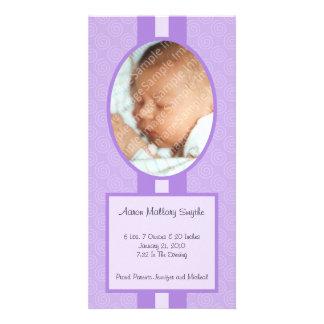 Púrpura en nueva tarjeta de la foto del bebé del tarjeta personal