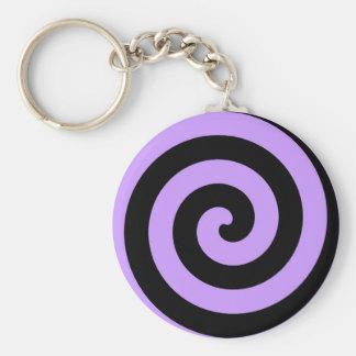Púrpura espiral y negro hipnóticos llaveros personalizados