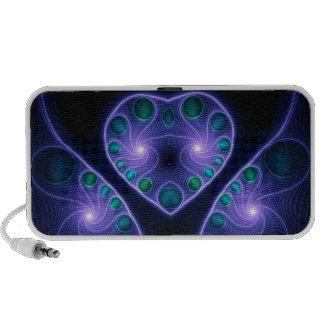 Púrpura estérea del fractal del corazón del amor altavoz de viajar