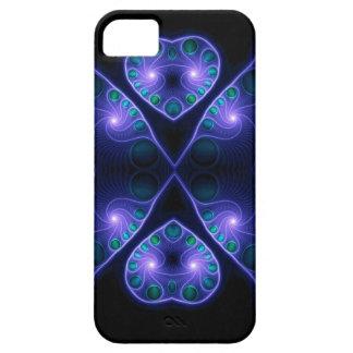 Púrpura estérea del fractal del corazón del amor funda para iPhone 5 barely there