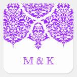 Púrpura fabulosa del damasco de 311 lunes Cherie Calcomanías Cuadradass Personalizadas