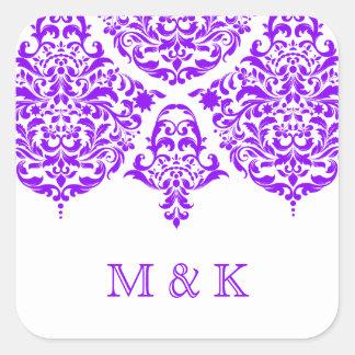 Púrpura fabulosa del damasco de 311 lunes Cherie Pegatina Cuadrada