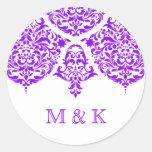 Púrpura fabulosa del damasco de 311 lunes Cherie Etiqueta Redonda