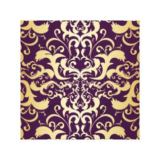 púrpura, falso, oro, damascos, vintage, impresión en lienzo
