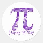 Púrpura feliz Camo del día del pi Etiquetas