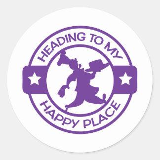 Púrpura feliz del chef de repostería del lugar pegatina redonda