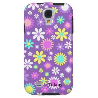 Púrpura femenina bonita con las flores de encargo funda para galaxy s4
