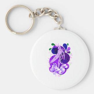Púrpura femenina conmemorativa de la persona que p llavero redondo tipo pin