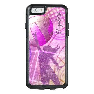 Púrpura femenina de las rosas fuertes del voleibol funda otterbox para iPhone 6/6s