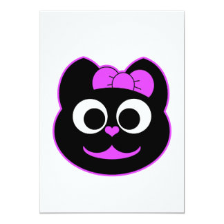 Púrpura femenina del gato del gatito invitaciones personalizada