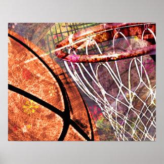 Púrpura femenina del rosa del baloncesto del póster