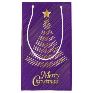 Púrpura festiva de las Felices Navidad y árbol del Bolsa De Regalo Pequeña