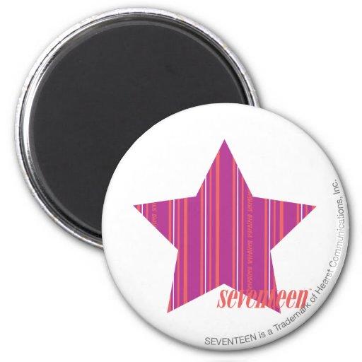 Púrpura fina 3 de las rayas imán redondo 5 cm