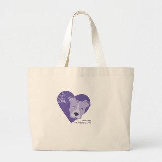 púrpura final del logotipo del rescate bolsa tela grande