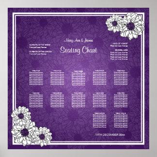 Púrpura floral de la dalia de la carta del asiento impresiones