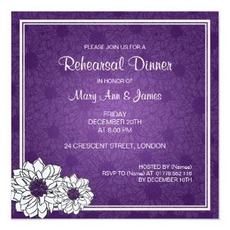 """Púrpura floral de la dalia de la cena del ensayo invitación 5.25"""" x 5.25"""""""