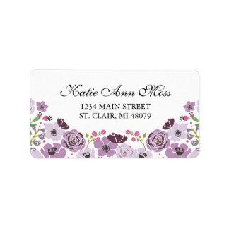 Púrpura floral de la etiqueta de dirección el |