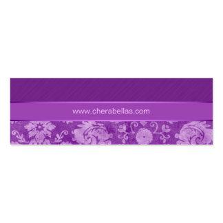 Púrpura floral de la flor del damasco del balneari tarjeta de negocio
