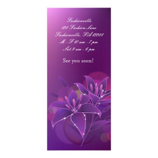 Púrpura floral de la venta al por menor de la moda plantillas de lonas