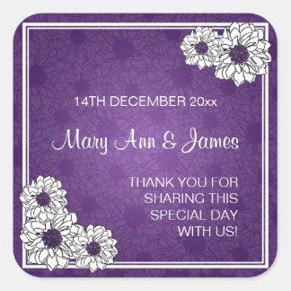 Púrpura floral del boda del favor de la dalia eleg