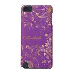 Púrpura floral del caso del tacto de IPod del oro