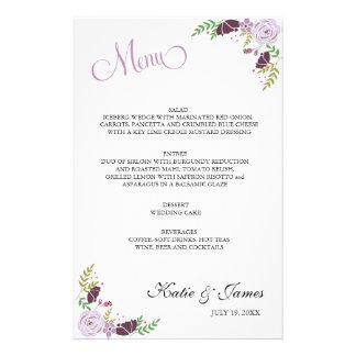Púrpura floral del menú el | del boda papelería de diseño