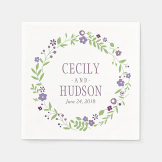 Púrpura floral del país de las servilletas el | de servilleta de papel