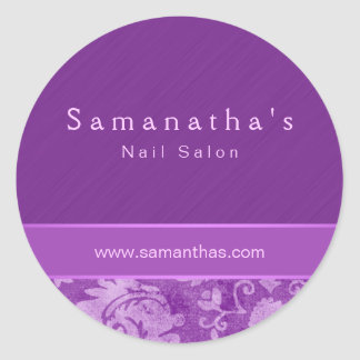 Púrpura floral del pegatina del damasco del