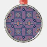 Púrpura floral geométrico y anaranjado pintorescos adornos de navidad