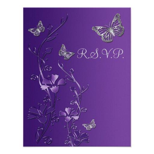 Púrpura, floral gris con la tarjeta 2 de RSVP de Invitación