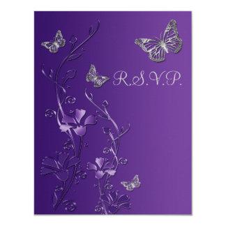 """Púrpura, floral gris con la tarjeta 2 de RSVP de Invitación 4.25"""" X 5.5"""""""