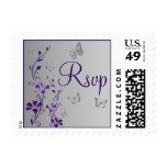 Púrpura, floral gris, franqueo de RSVP de las mari