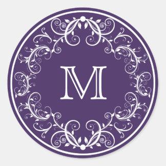 Púrpura floral personalizada de los pegatinas del pegatina redonda