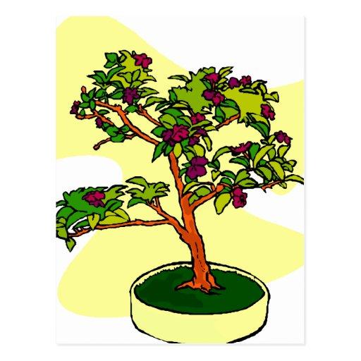 Púrpura floreciente de los bonsais con el fondo postal