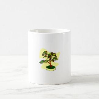 Púrpura floreciente de los bonsais con el fondo taza básica blanca